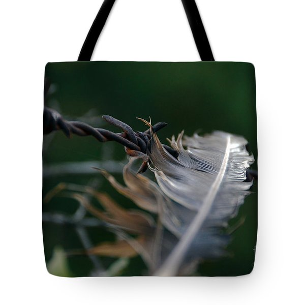 Feather And Barbed Wire Tote Bag