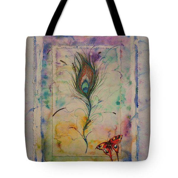 Feather And Butterfly Tote Bag