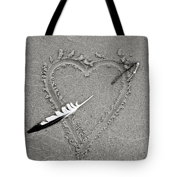 Feather Arrow Through Heart In The Sand Tote Bag