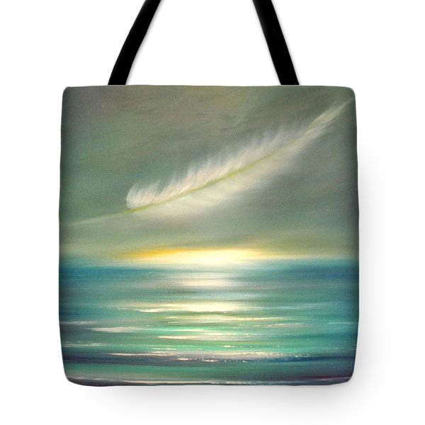 Feather At Sunset Tote Bag