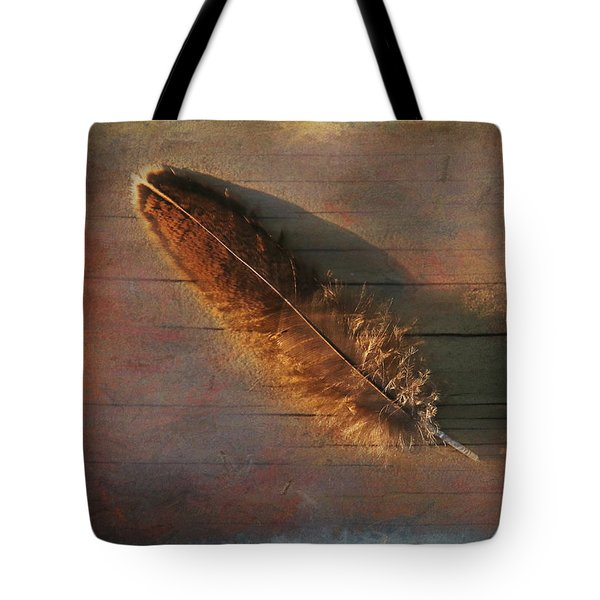 Feather Study On Barnboard Tote Bag by Clare VanderVeen