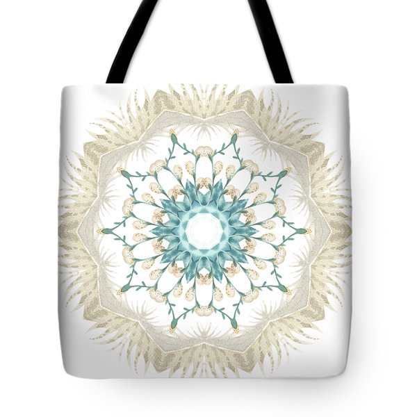 Tote Bag featuring the digital art Feathers And Catkins Kaleidoscope Design by Mary Machare