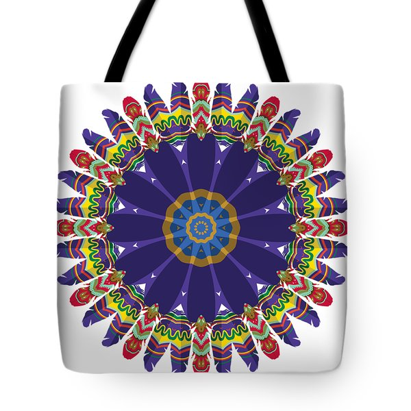 Feathers In The Round Tote Bag by Mary Machare