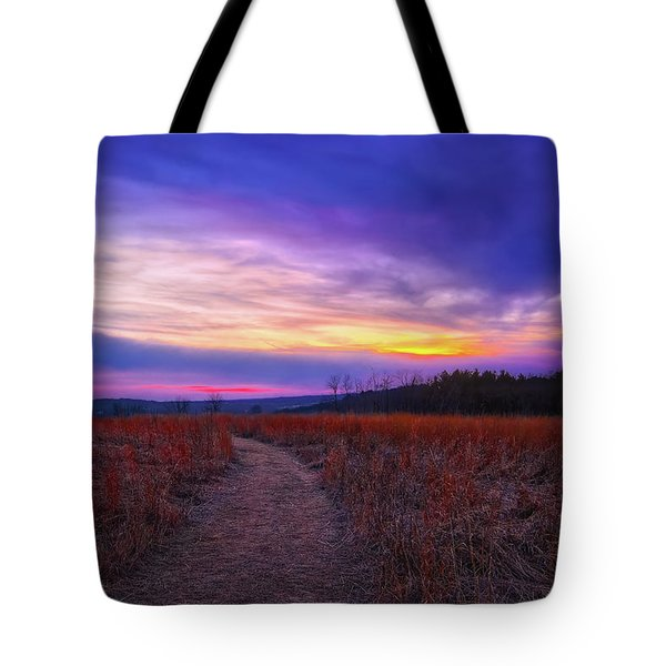 February Sunset And Path At Retzer Nature Center Tote Bag by Jennifer Rondinelli Reilly - Fine Art Photography