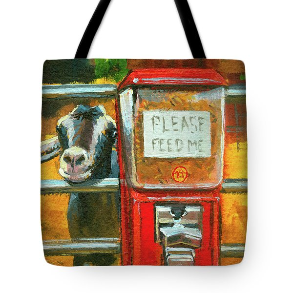 Tote Bag featuring the painting Feed Me by Lesley Spanos