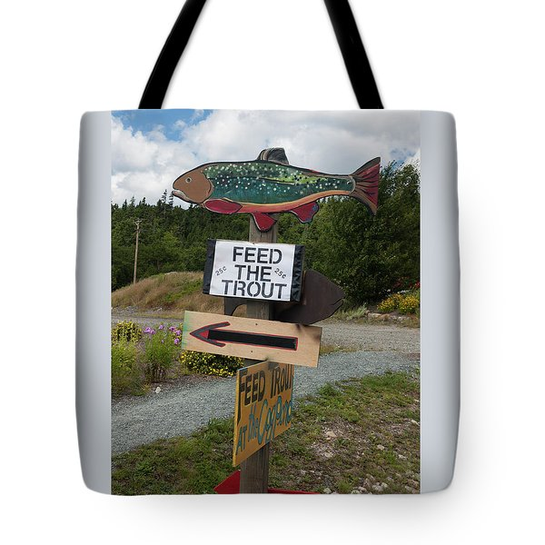 Feed The Trout Tote Bag by Suzanne Gaff