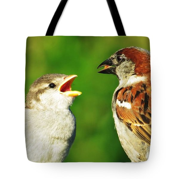 Feeding Baby Sparrows 2 Tote Bag