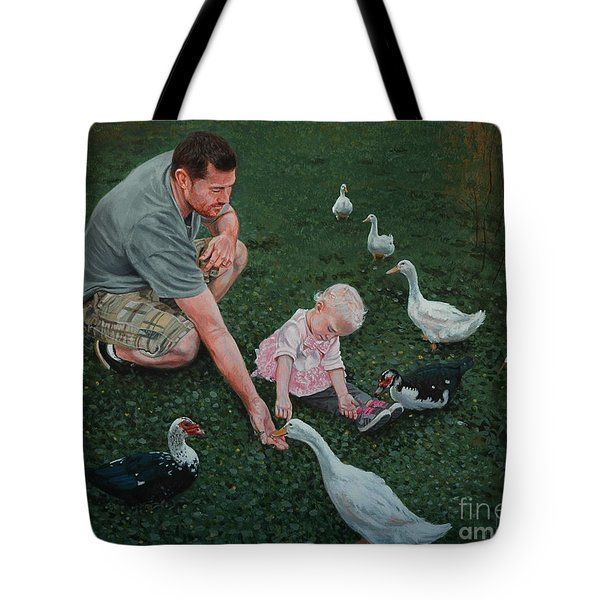 Feeding Ducks With Daddy Tote Bag by Michael Nowak