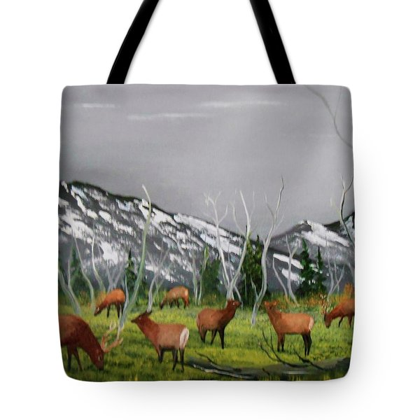 Feeding Elk Tote Bag