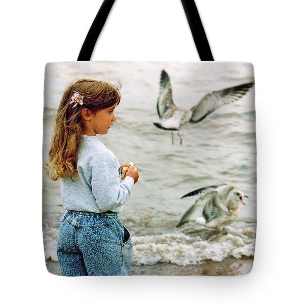 Feeding Gulls Tote Bag