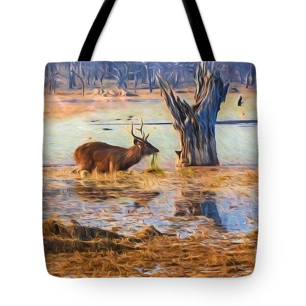 Feeding In The Lake Tote Bag by Pravine Chester