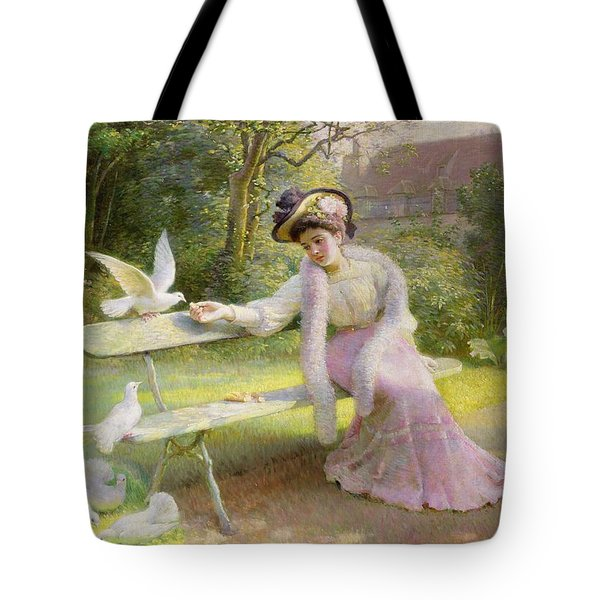 Feeding The Doves  Tote Bag by Edmond Alphonse Defonte