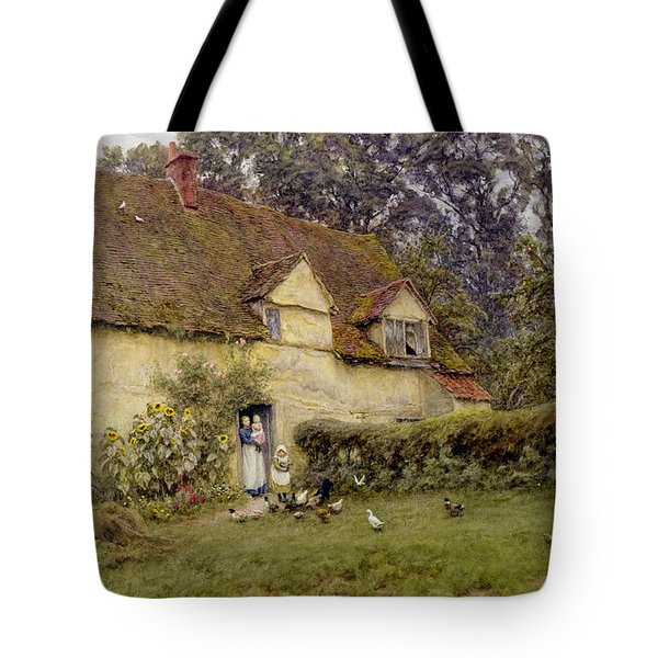 Feeding The Fowls Tote Bag by Helen Allingham