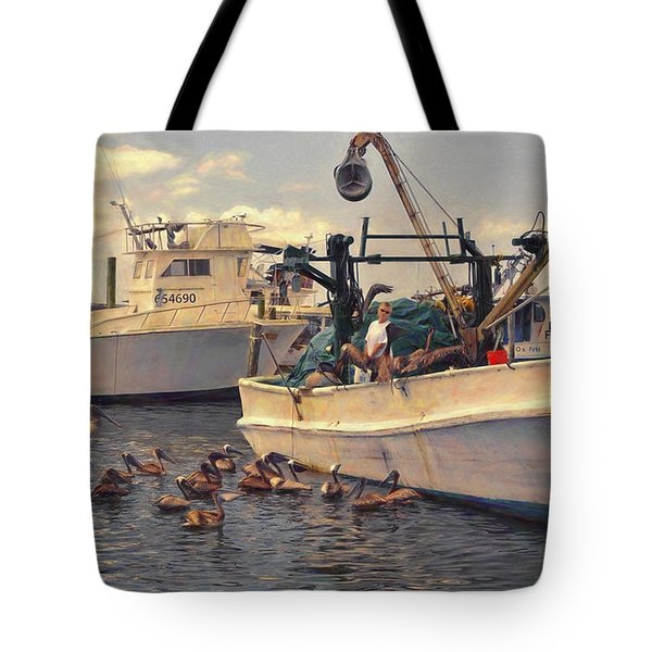 Feeding The Pelicans Tote Bag