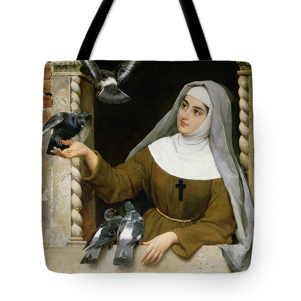 Feeding The Pigeons Tote Bag by Eugen von Blaas