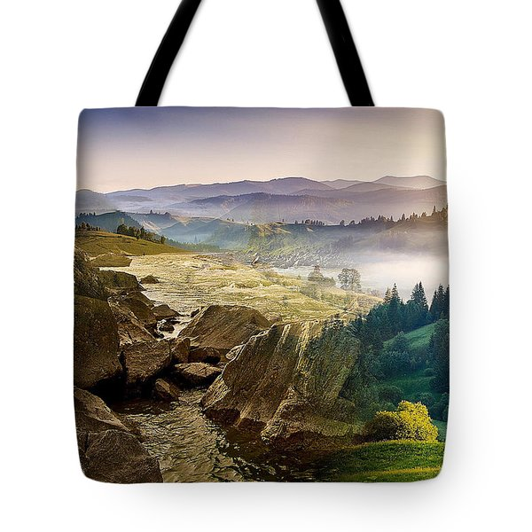Feeding The Waterfall Montage Tote Bag
