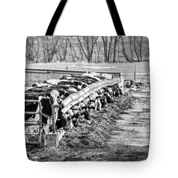 Tote Bag featuring the photograph Feedlot by Dan Traun