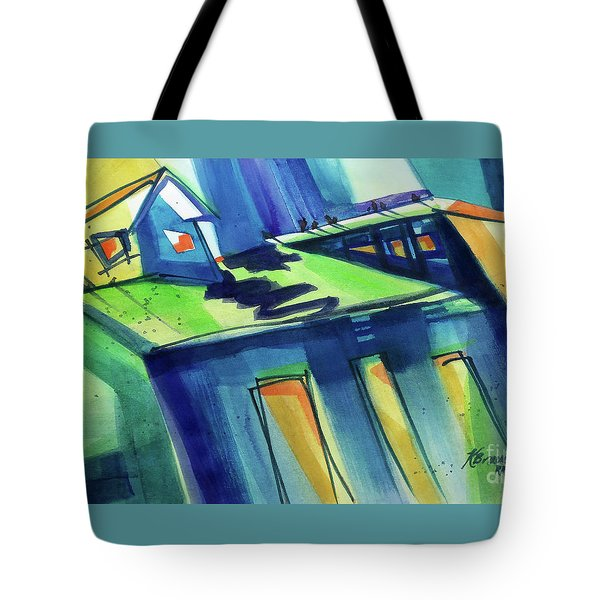 Tote Bag featuring the painting Feedmill In Blue And Green by Kathy Braud