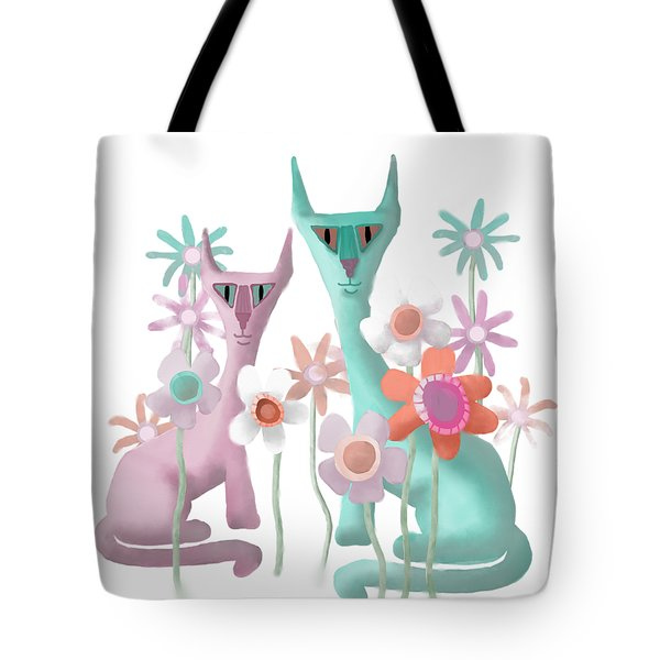 Felines In Flowers Tote Bag