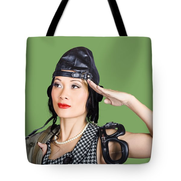 Female Aviation Lady Saluting In Pin-up Class Tote Bag