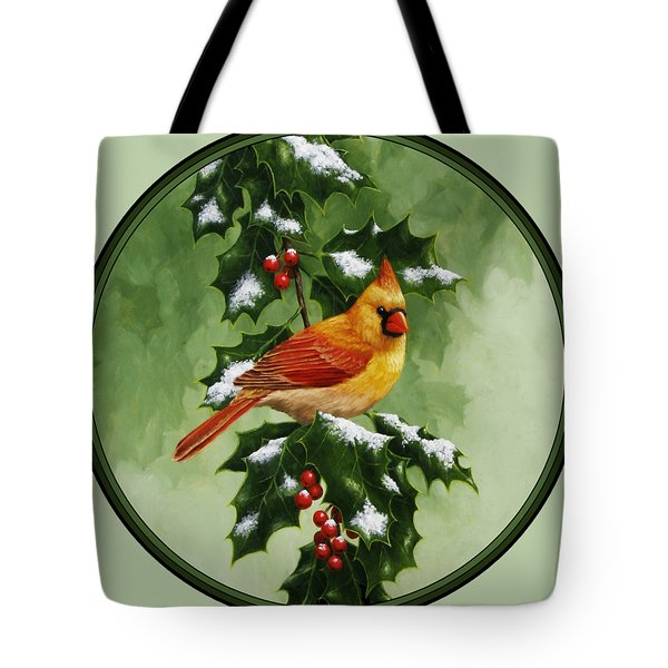 Female Cardinal And Holly Phone Case Tote Bag