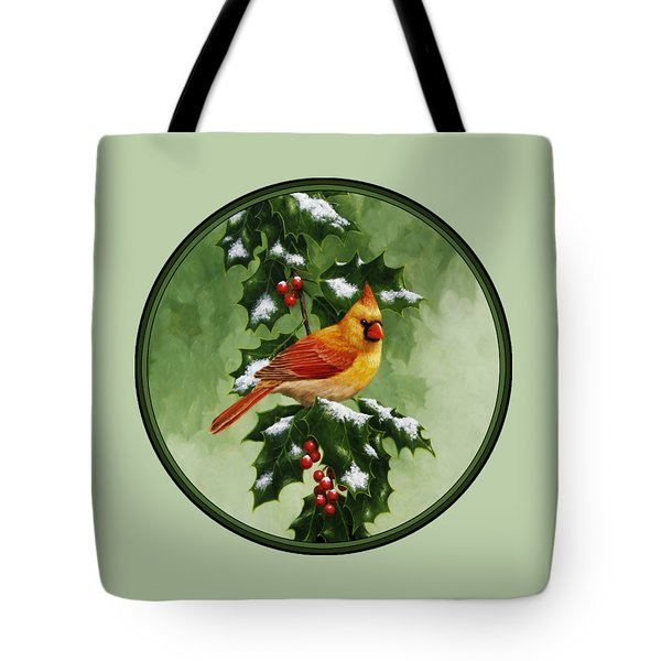 Female Cardinal And Holly Phone Case Tote Bag by Crista Forest