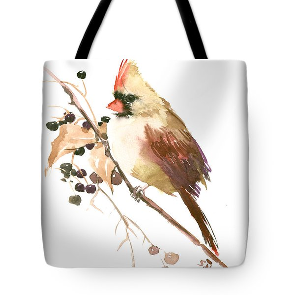 Female Cardinal Bird Tote Bag