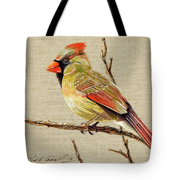 Tote Bag featuring the painting Female Cardinal by Bob Coonts