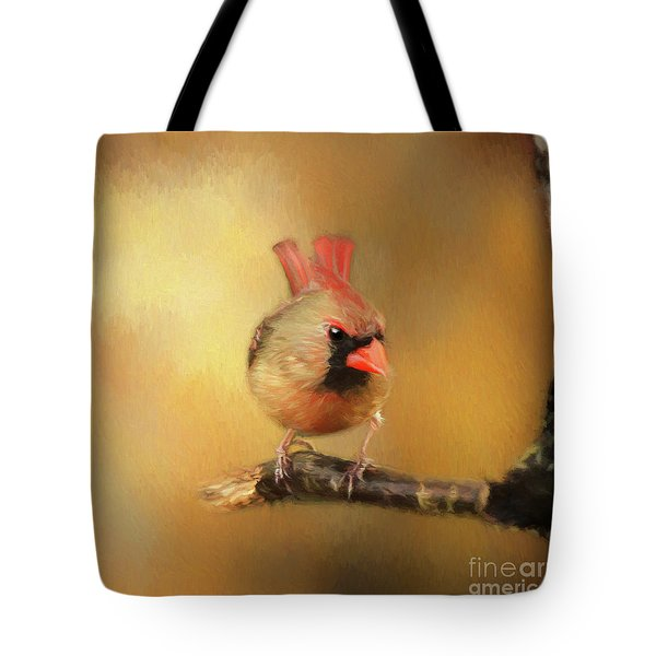 Female Cardinal Excited For Spring Tote Bag