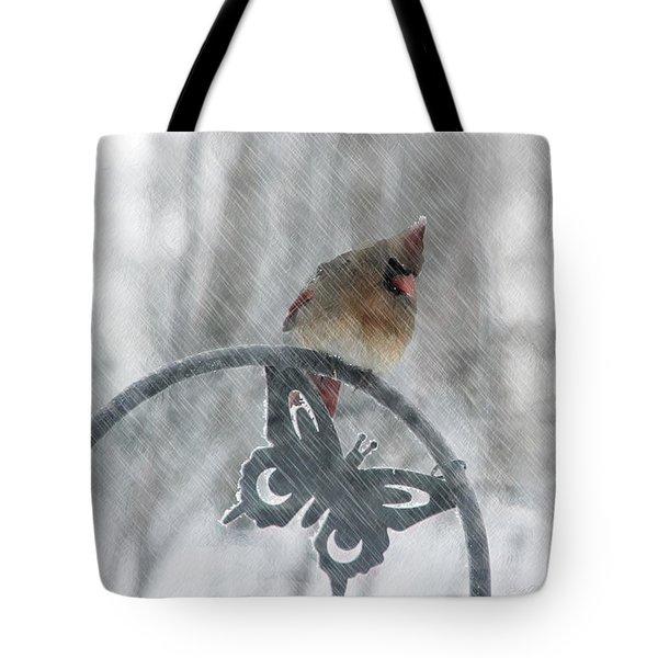 Female Cardinal In 2016 Blizzard Tote Bag by Ericamaxine Price