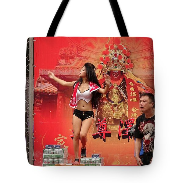 Tote Bag featuring the photograph Female Dancer At A Temple Ceremony by Yali Shi