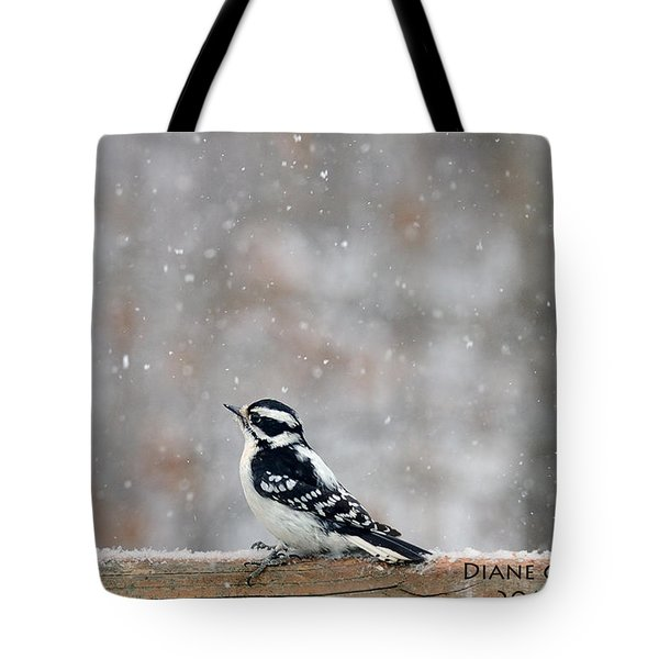 Female Downy Woodpecker Tote Bag by Diane Giurco