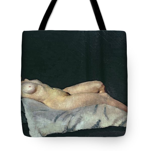 Female Figure Lying On Her Back Tote Bag by Dora Carrington