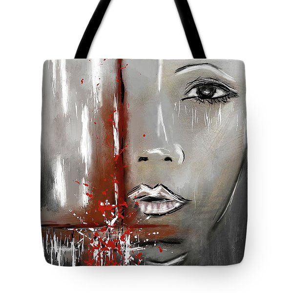 Female Half Face On Grey Abstract Tote Bag