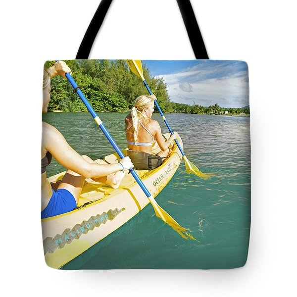 Female Kayakers Tote Bag by Kicka Witte - Printscapes