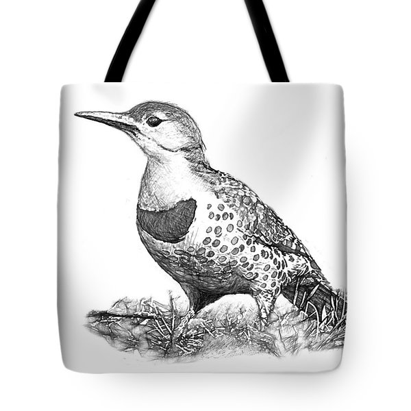 Female Northern Flicker B And W Tote Bag