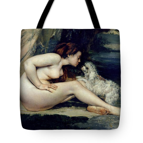 Female Nude With A Dog Tote Bag