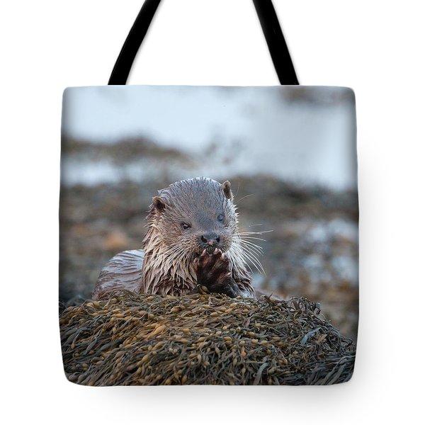 Female Otter Eating Tote Bag