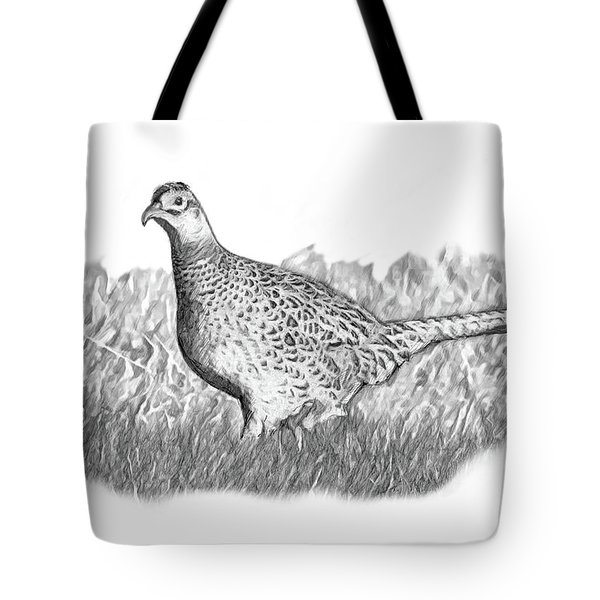 Female Pheasant B And W Tote Bag