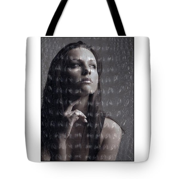 Female Portrait With Reptile Texture Tote Bag