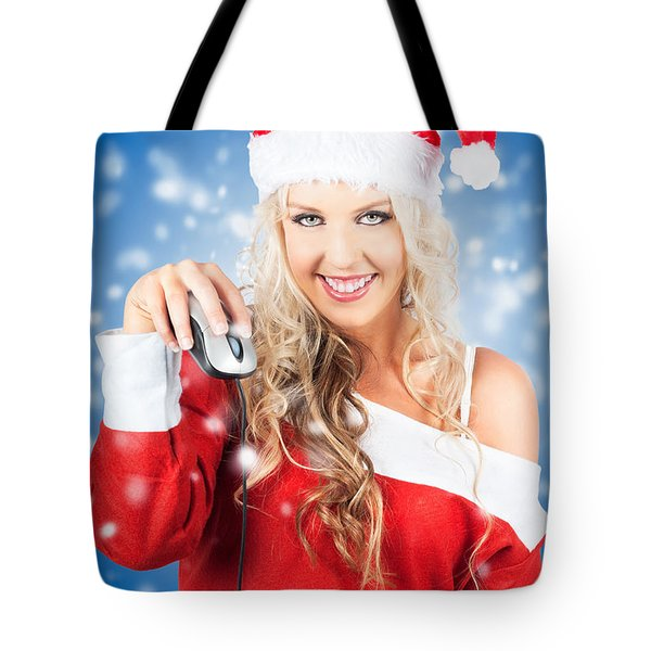 Female Santa Claus Christmas Shopping Online Tote Bag