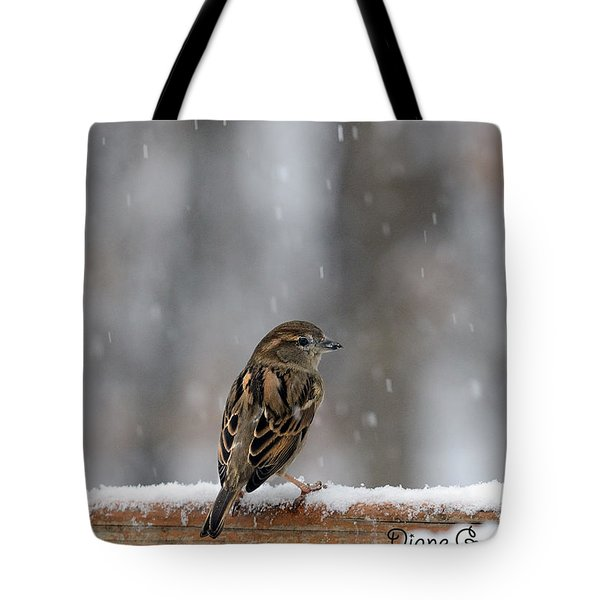 Female Sparrow In Snow Tote Bag by Diane Giurco
