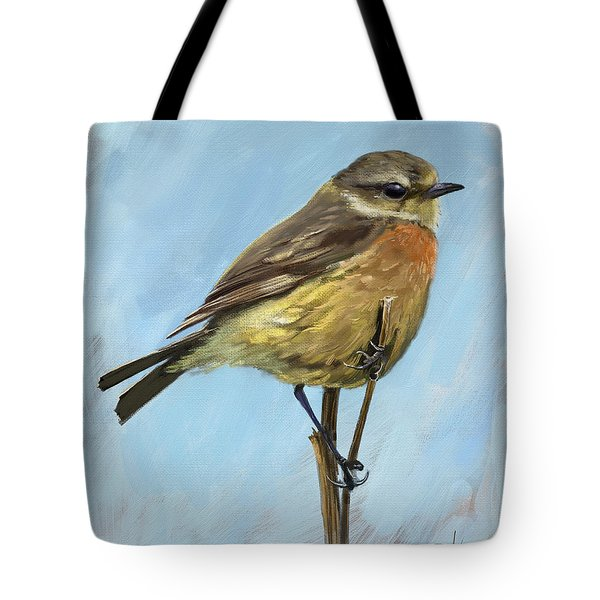 Female Stonechat Tote Bag