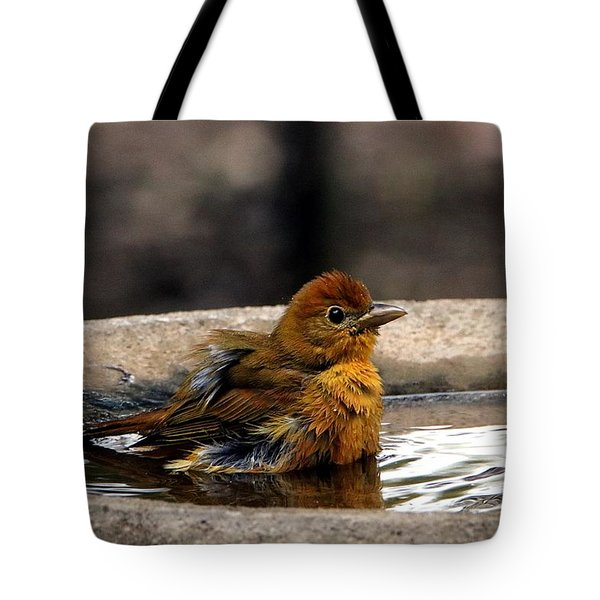 Female Summer Tanager In Bird Bath Tote Bag