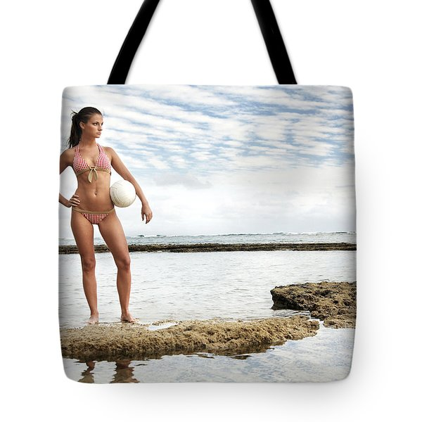 Female With Volleyball Tote Bag by Brandon Tabiolo - Printscapes