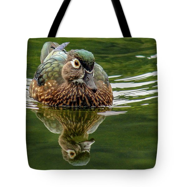 Tote Bag featuring the photograph Female Wood Duck by Jean Noren