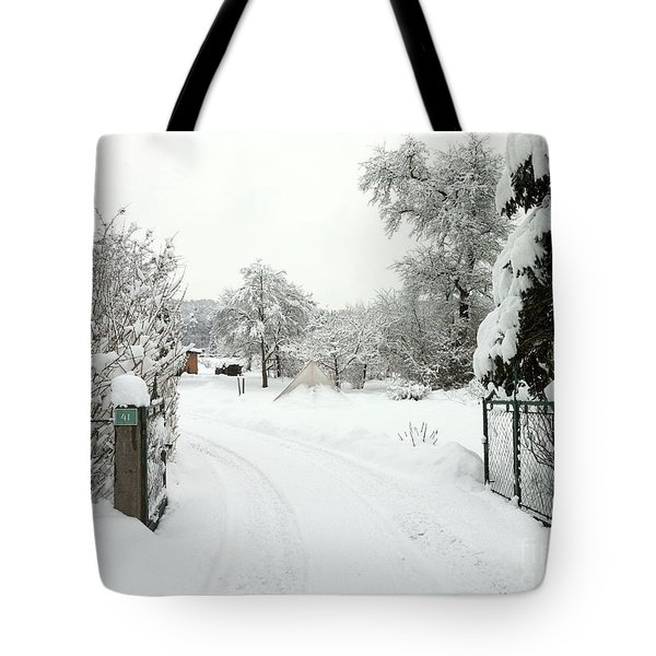 Fence And  Gate In Winter Tote Bag