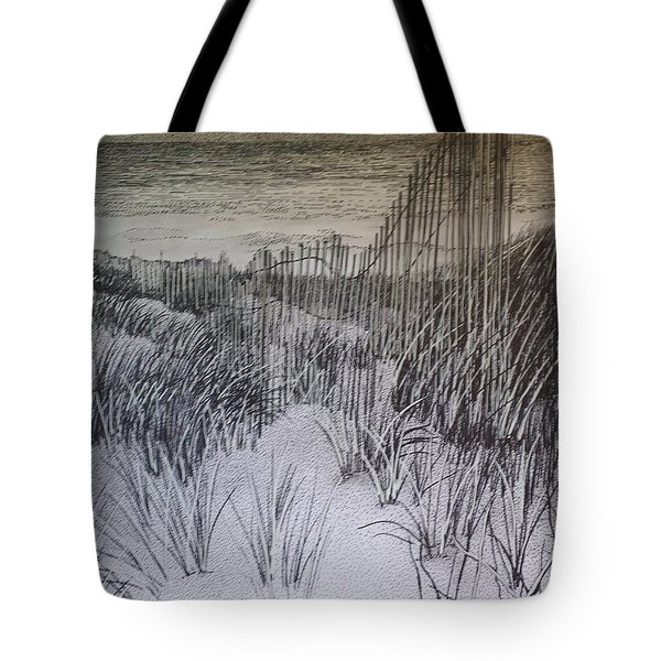 Fence In The Dunes Tote Bag