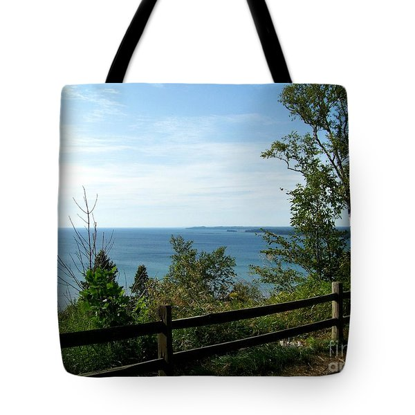 Tote Bag featuring the photograph Fence On The Lake by Charles Robinson
