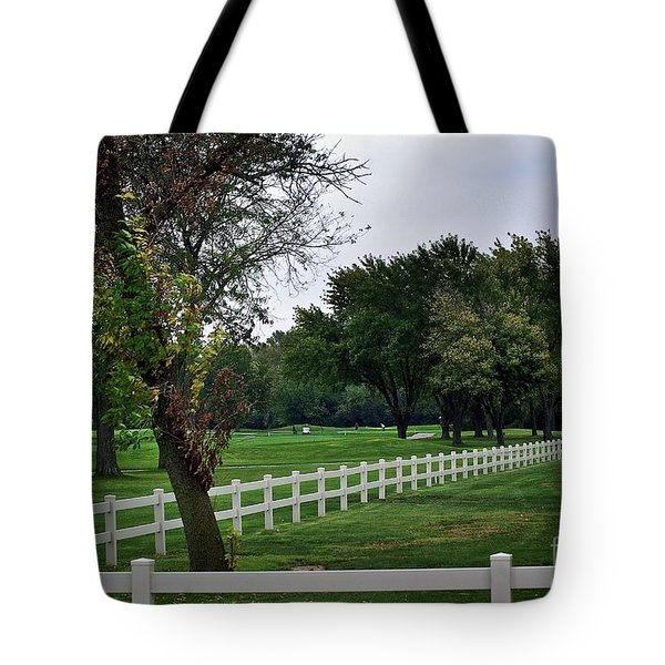 Fence On The Wooded Green Tote Bag